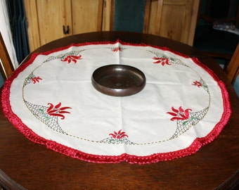 Vintage Linen Centerpiece Hand Embroidered Arts and Crafts Red Flowers 34 Inches