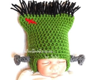 newborn frankenstein monster hat halloween photography prop