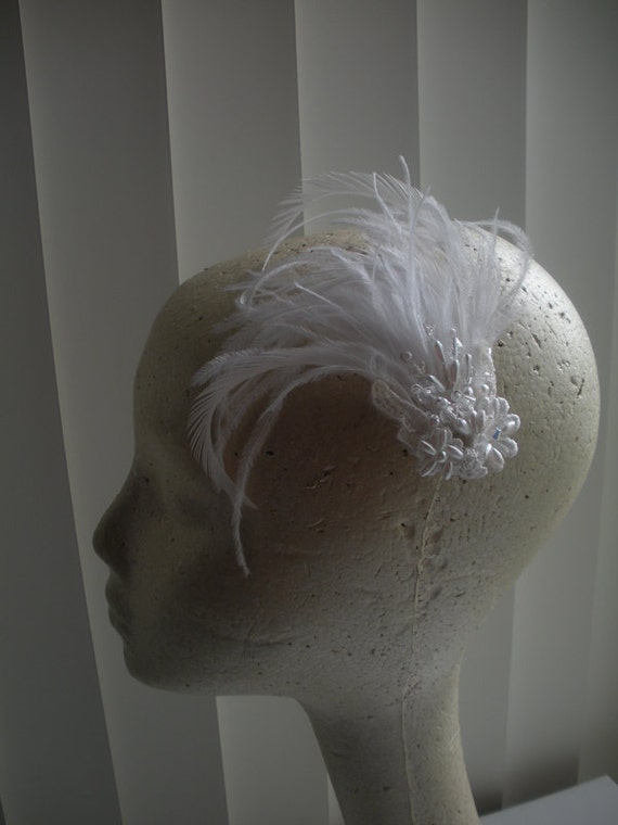 Tania Bridal with Feathers and Embroidered Vintage Flowers, Pearls and Crystals - Free Mini Veil