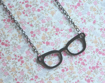 Black Glasses Necklace black