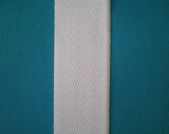 White Cotton Twill Tape 1 inch wide - 3 yards