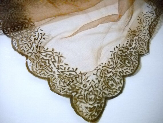 Sheer Chocolate Brown Vintage Scarf with Decorative Edging