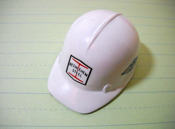 White Metal Hard Hat Paper Weight Bethlehem Steel Great For Your Office