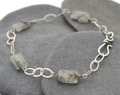 Sterling Silver and Grass Stone Bracelet - OOAK
