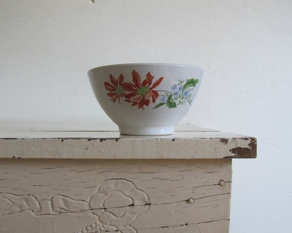 Vintage Red Cafe au Lait Bowl, French Country Decor