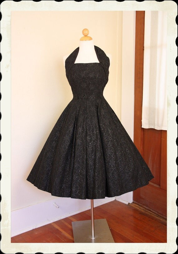 DESIGNER Couture 1950's New Look Metallic Floral Embroidered Inky Black Taffeta Halter Party Dress by Suzy Perette - Bombshell -VLV - Size M