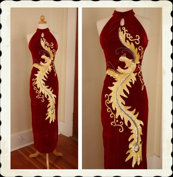 THE BEST Early 1960's Crimson Red Velvet Hourglass Long Cheongsam Gown w/ Hand Sequined Large Phoenix Bird & Gold Studs - Burlesque - Size M