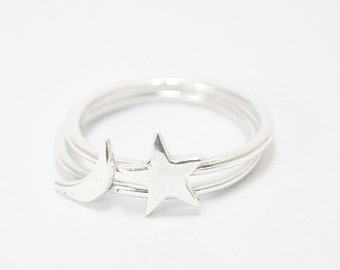 FREE SHIPPING-the little star and moon ring-sterling silver-made to order