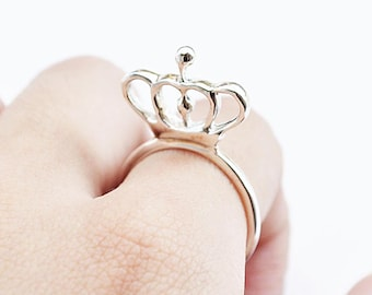 free shipping-the modern crown ring-sterling silver