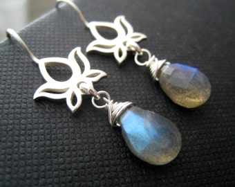 Silver Lotus earrings with labradorite, labradorite earrings, sterling silver lotus flower jewelry