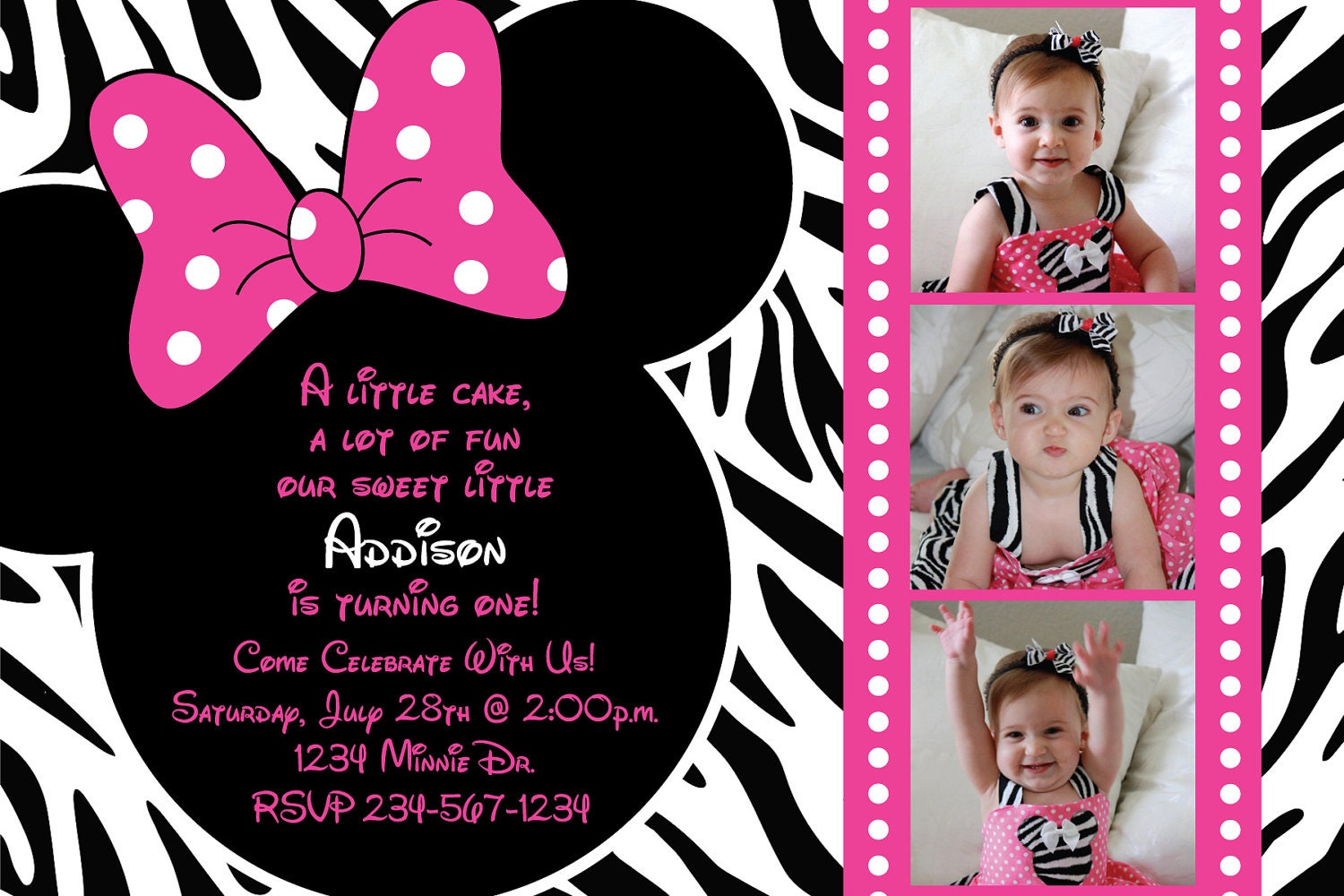 Minnie Mouse Zebra Birthday Party Custom by ...