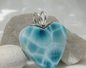Larimar turtleback heart, I Love Sea Strawberries - amazing naturally cracked teal blue Larimar pendant