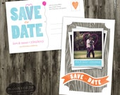 Polaroid postcard save the date rustic wood nature banner balloon heart pink orange blue post card
