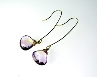 LP 872 Faceted Ametrine Heart Briolettes And 14K Gold Filled  Earrings