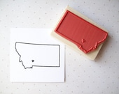 Custom US State Rubber Stamp with Heart Over Your City - stampcouture