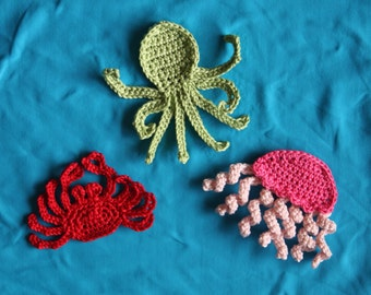 Sea Creatures Applique pdf PATTERN, crab, octopus, jellyfish, crochet for baby nursery or children
