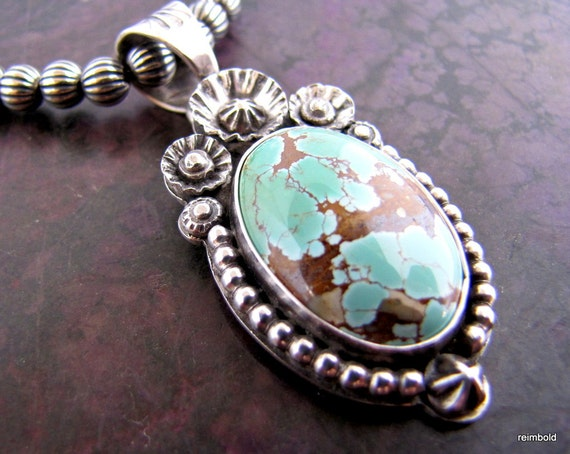 Royston Turquoise Victorian Southwest Sterling Pendant