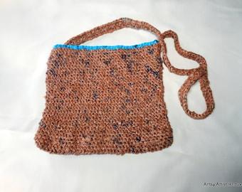 Brown blue plarn bag reuse crochet square shape vegan Earth friendly plastic bag yarn shoulder strap purse