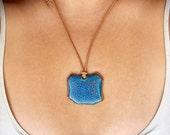 SALE-Ceramic Pendant-Turquoise Gem-Cut Pendant-Leather Necklace