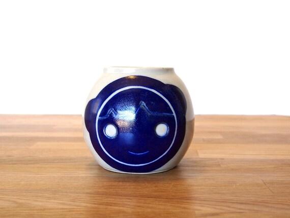 Ceramic Eskimo Beastie Vase-One of a Kind-Blue-Handpainted