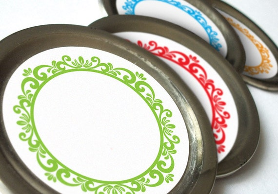 Colorful Wreaths Canning jar labels, 2 inch round stickers for mason jars, fruit  and vegetable preservation, jam and jelly