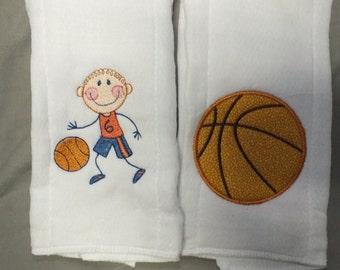 Basketball burp cloth baby boy burp cloth personalized burp cloth sports boy burp cloth
