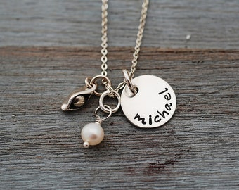 Hand Stamped   Pea in a Pod...One Sweet Pea..... Personalized Bezel Set Birthstone Silver Necklace