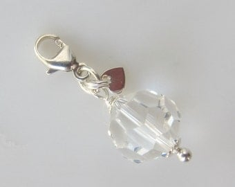 Swarovski Crystal Clip On Charm in Sterling