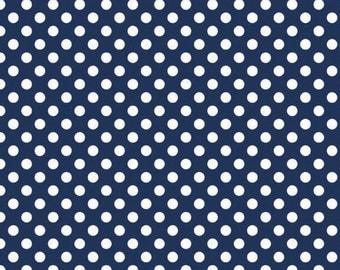 Navy and White Small Polka Dot Cotton For Riley Blake, 1 Yard