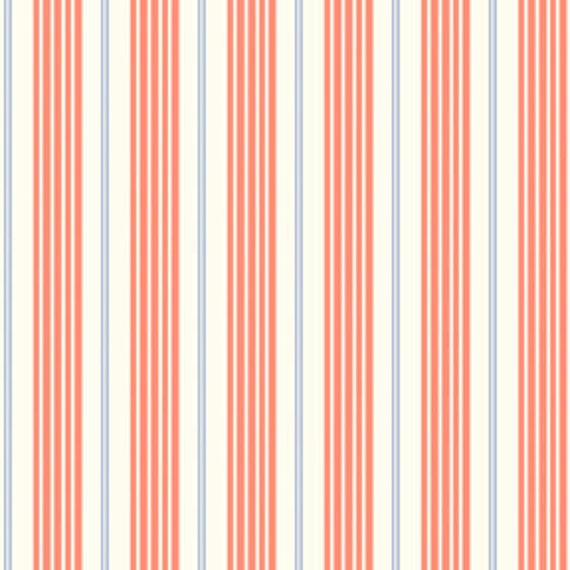 Orange and Blue Racer Stripe FLANNEL Fabric, Children At Play By Sarah Jane for Michael Miller,  Racer Stripe Print in Orange Coral, 1 Yard