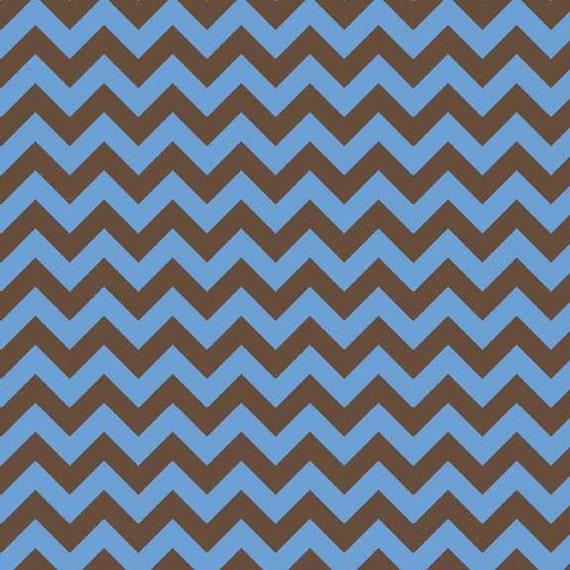 Blue and Brown Chevron Flannel, 1 Yard