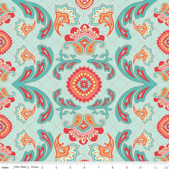aqua red and orange damask flourish cotton fabric avignon by. Black Bedroom Furniture Sets. Home Design Ideas