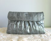vintage clutch purse ... metallic feather leather bag with shoulder chain