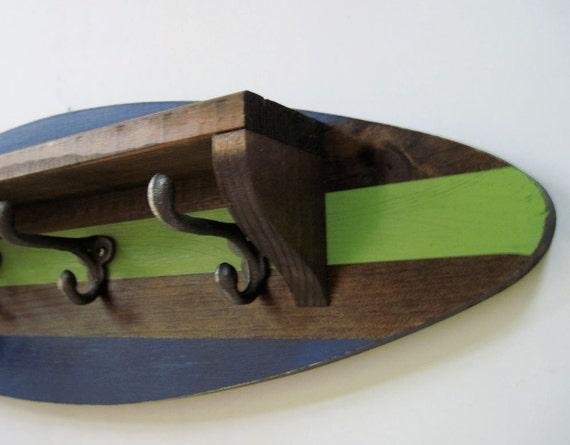 Surfboard Shelf Coat Rack in Navy and Green