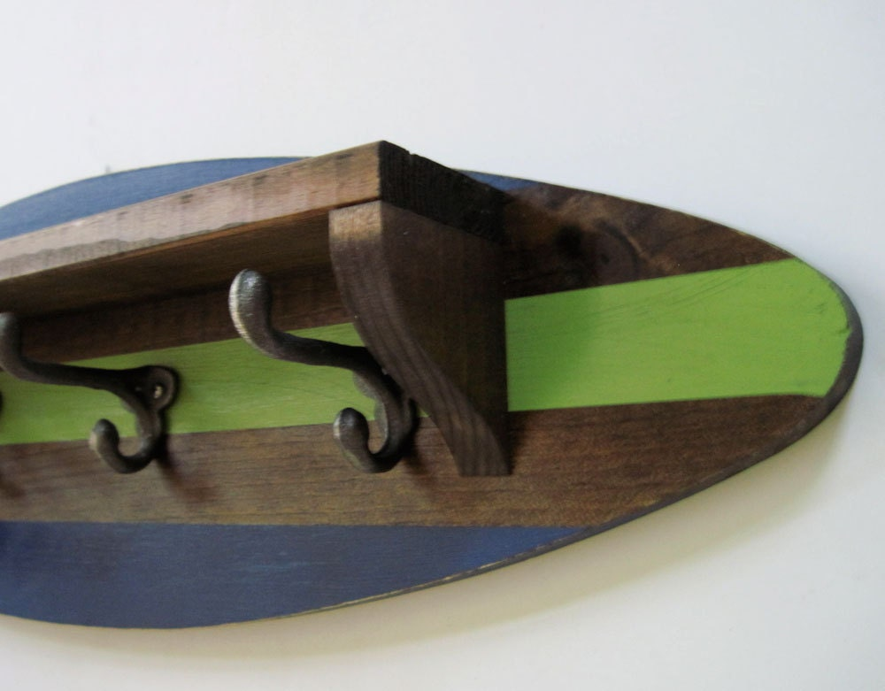 Surfboard Shelf Coat Rack Navy And Green