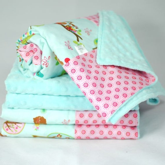 Tiffany Blue Minky Baby Blanket, Child's Blanket with Hoo's in the Forest for a Baby Girl