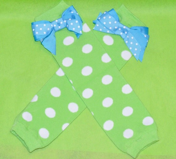 Polka Dot Leg Warmers with Sewn on Bow in Lime Green