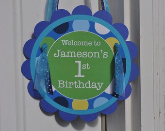 Boys 1st Birthday Party Door Sign - Personalized Party Decorations - Blue Polkadots