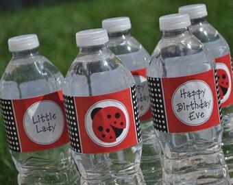 Water Bottle Labels, Ladybug Birthday, Ladybug Baby Shower, Water Bottle Wraps, Personalized Party Decorations - Set of 10 Labels
