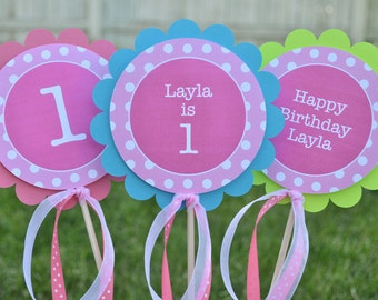 Centerpiece Sticks, Girls 1st Birthday Party Decorations, Polkadots, Pink, Teal, Purple, Lime Green - Personalized - Set of 3