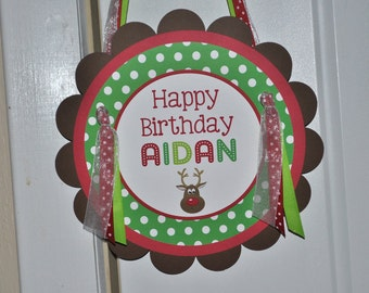 Reindeer Birthday Party Sign - Holiday, Winter Birthday Party Decorations - Christmas Party Sign