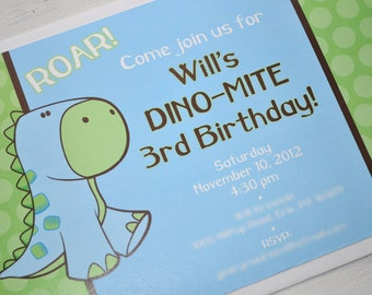 Dinosaur Invitations - Boy Birthday Invitations - Boy Baby Shower Invitations - Brown, Green and Blue - Set of 12