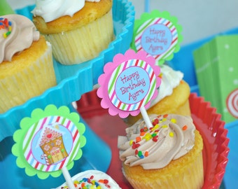 Gingerbread Cupcake Toppers, Girls 1st Birthday, Holiday Party, Winter Birthday Decorations, Christmas Party Cupcake Toppers - Set of 12