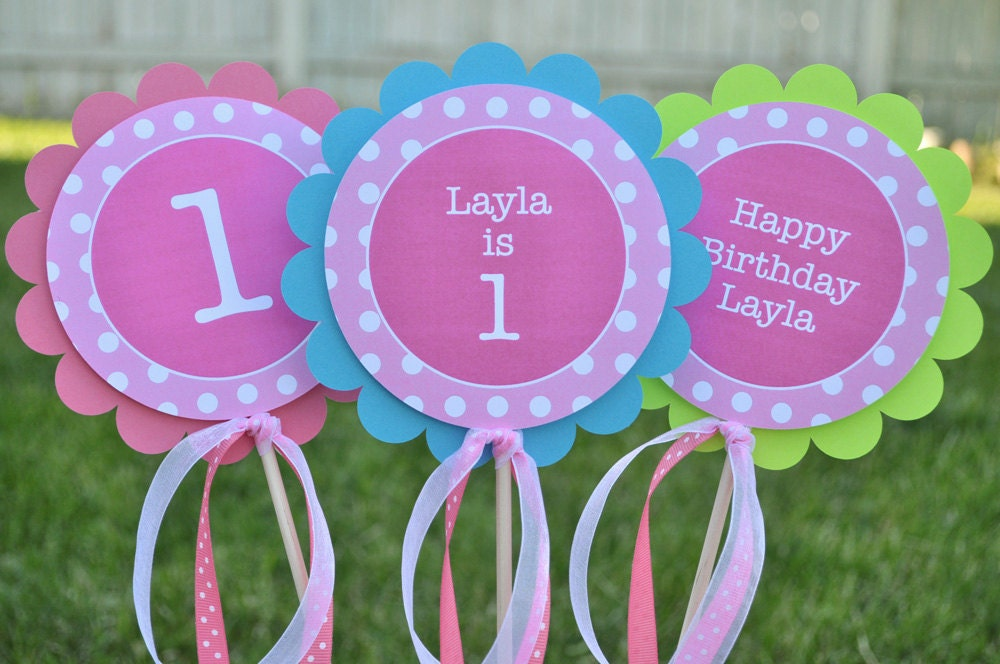 Centerpiece sticks girls 1st birthday party decorations for 1st birthday girl decoration