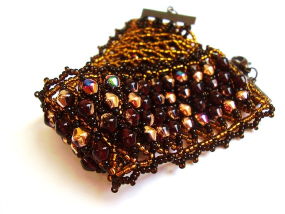 Beadwoven bracelet, beadwork wide dark red, brown and copper handmade gift for her