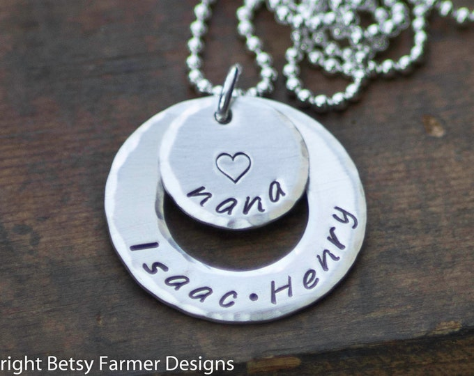 Grandkids Necklace for Nana - Grandchildren Jewelry - Hand Stamped Sterling Silver - Personalized Mother's Day Gift by Betsy Farmer Designs