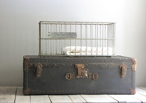 vintage large industrial wire basket bin