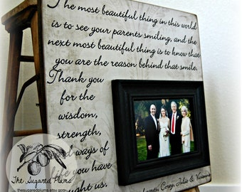 Parent Wedding Gift, Wedding Frame, Thank You Gift for Parents, 16x16 The Sugared Plums Frames