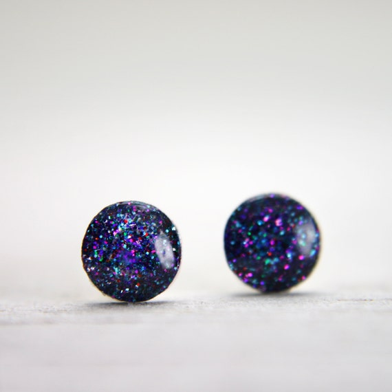 super tiny circle post earrings in sparkly purple galaxy - round dot stud earrings