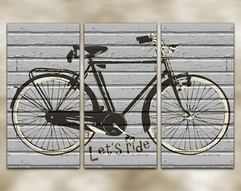 Bicycle Banksy Style Graffiti Triptych Canvas Giclee